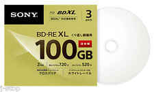 3 Sony Blu Ray 100GB Rewritable BD-RE BDXL Disc Inkjet Printable Bluray