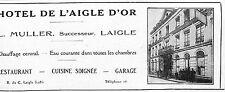 61 LAIGLE HOTEL DE L' AIGLE D' OR MULLER PROPRIETAIRE PUBLICITE 1927