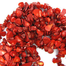 "8x14mm red coral flat teardrop chip beads 15"" strand"