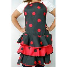 Delantal flamenca económico color negro y lunares rojos