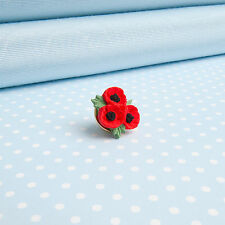 POPPY TRIO  LAPEL PIN  hand-painted flower jewellery  MADE IN WALES UK