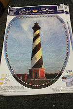Toilet Tattoos NEW-elongated seat 12x15 NICE Lighthouse w/ blue/purple bkground