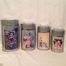 HEINZ 57 PICKLES  VINTAGE ADVERTISING LABELS  ON METAL CANISTERS SET OF 4 GC