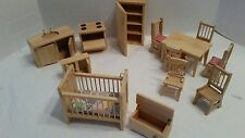 Lot of Wooden Doll House Furniture MINT 13 pieces