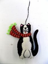 Hand Crafted Folk Art Christmas Ornament Black & White Cat/Kitty w/Striped Scarf