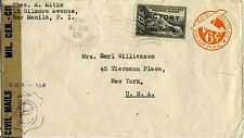 1945 Censored Clipper Air Mail Manila-New York FAM-14 by NATS