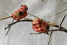 2 x Rustic Red Gingham Christmas Bird Decorations Clip on Traditional Vintage