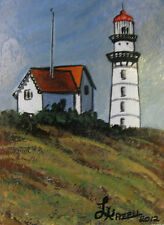 "ORIGINAL ACRYLIC MINIATURE ART ACEO PAINTING BY LJH ""LIGHTHOUSE""    A206"