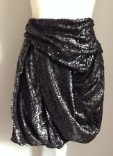 All Saints Black Sequin Skirt Size 8 Party Drapy Knee Length Bnwot