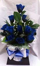 Artificial Silk Flowers Dozen Blue Roses Valentines Gift Bouquet Box Delivery