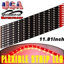 10x 30CM/12 LED Pure Red Car Motors Truck Flexible Strip Light Waterproof 12V