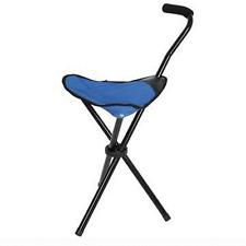 NEW 2LB LIGHT BLUE STOOL CANE HIKING WALKING STICK TRAVEL CAMP TRIPOD w/CASE