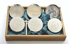6 Japanese Sterling Silver Tea Cup Tray Saucer Mk Jungin 純銀 with Wood Box