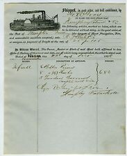 MARITIME – STEAM BOAT ILLUSTRATED BILL OF LADING – MISS RIVER – 1868.