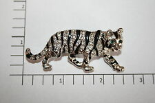 Brooch Pin - Tiger - Green Eyes - White Rhinestone - Black Enamel - Silver Tone