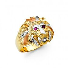 EJMR34316 - Men's Solid 14K Tricolor Gold Lion's Head Ring