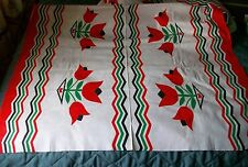 Vintage 40s 50s Tulip Double Border Print Cotton Percale Fabric 3+ yards