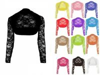 NEW LADIES WOMENS LACE LONG SLEEVE BOLERO SHRUG CROP NET CARDIGAN TOP 8 10 12