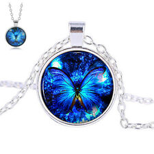 Retro Blue Butterfly Cabochon Glass Charm Pendant Chain Necklace Fashion Jewelry