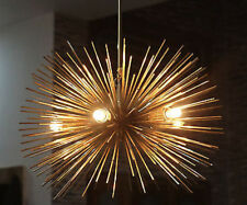 MID CENTURY MODERN CHANDELIER BRASS LIGHT FITTING SPHERE URCHIN SPUTNIK 5BULB