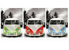 "VW Combi Van Camper Retro Pop CANVAS ART PRINT 8"" X 12"""