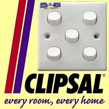 Clipsal 5 gang Switch 1 way 2 terminal 250V 10A WHITE