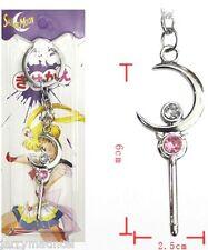 Anime Sailor Moon Tsukino Usagi Silver Color Moon Stick Wand Keychain Keyring