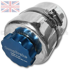 Universal Polished Aluminium Alloy Power Steering Fluid Reservoir Tank Blue Cap