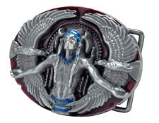 Red Native American Belt Buckle Medicine Man Indian