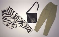 "2 DOLL PANTS & HANDBAG: KHAKI and BLACK & WHITE Fit 11.5 - 12"" Candi, Barbie NEW"