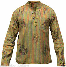 Stonewashed Grandad Festival Shirt With Patchwork,Colourful,Hippie Clothing,Boho