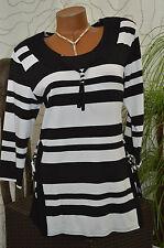 Tunika Kleid Long Shirt Exclusiv gestreift 3/4 Arm schwarz weiß Größe 40
