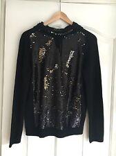 MAJE Douillet Sequin Front Hooded Wool Jumper Black 90's Grunge Size 1 UK 8 RARE