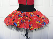 NEW HANDMADE RED SPIDERMAN WEBS PRINT TUTU MINI SKIRT DANCE UK 8-10-12