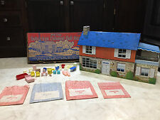VINTAGE MARX TIN LITHO METAL SUBURBAN COLONIAL DOLL HOUSE NO. 4051 FURNITURE