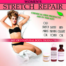 Womens Natural Stretch Repair Body Kit for Stretch Marks Breasts Cellulite Set 3