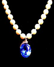 PENDANT / Strellman's PEARL ENHANCER**14K yel.GOLD***LAB CREATED**BLUE SPINEL***