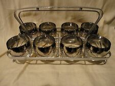 Set of 8 Dorothy Thorpe Style Silver Fade Roly Poly Glasses w/ Caddy