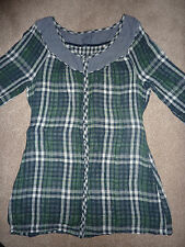 Fat Face dress/ top tunic green grey checked. Size S-M