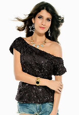 Off the shoulder Sequin Oversized Tee T shirt Blouse Black 25078