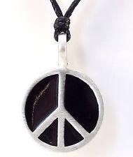 Estaño signo de la Paz Colgante Collar de cordón negro en níquel libre CND prohibir la bomba #2