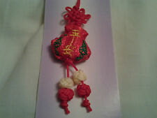 hand-made red calabash shape Chinese knot, charm, pendant with embroidery words