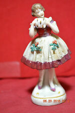 Early Capodimonte Hand Painted Porcelain Frozen Lace Lady Holding Muff Figurine