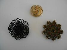 Brooch Lot of 3, Chico Multi-Colored Pin, Gold Circular Pin & Black Beaded Pin