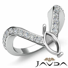 Diamond Pave Set Designer Wedding Ring Marquise Semi Mount 18k White Gold 0.35Ct