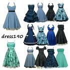 dress190 Blau 50er Jahre Rockabilly Party Cocktail Abschlussball Brautjun Kleid
