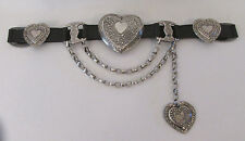 VINTAGE 1970s 80s STREETS AHEAD BLACK LEATHER BELT SILVER METAL HEARTS CHAIN