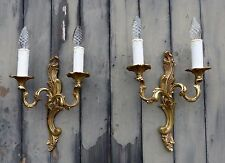 Gorgeous Pair Antique French Bronze Ornate Rococo Wall Lights C1950's Twin Arms