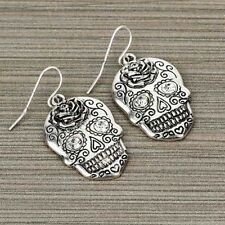 RHINESTONE SKULL FLOWER ROSE WESTERN EARRINGS GOTHIC BIKER JEWELRY