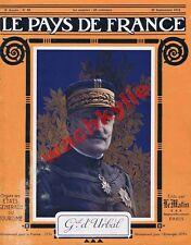 Le pays de France n°50 du 30/09/1915 Gal d'Urbal bataille de la Marne aviation